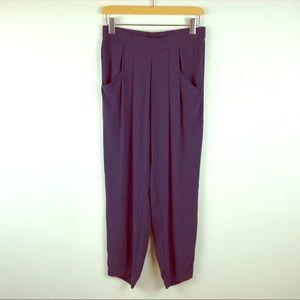 Eileen Fisher Dark Purple Silk Pants Size XS